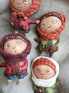 Simple Fabric Crafts You Can Make From Scraps - Diy Crafts Tiny Dolls, Soft Dolls, Cute Dolls, Sewing Toys, Soft Sculpture, Fabric Dolls, Doll Face, Miniature Dolls, Handmade Toys