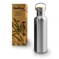 Bambaw Insulated Water Bottle, Stainless Steel Water Bottle Eco Friendly Reusable Bottle, Leakproof and Plastic Free Metal Water Bottle, Keeps Hot and Cold Drinks, Eco Water Bottle. No Plastic, Plastic Bottles, Stylish Water Bottles, Water Branding, Insulated Water Bottle, Stainless Steel Water Bottle, Drinking Water, Bottled Water, Zero Waste