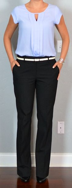 Outfit Posts: outfit post: lilac pleated keyhole blouse, black suit pants, white belt, black pumps