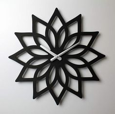 Lotus Wall Clock Unique Wall Clock Modern Wall Clock Large Wood Clock Laser Cut Clock Wooden Clock Wooden Wall Clock yoga studio decor - Laser Cut Wall Clock Lotus Flower Design Statement Wedding Gift for Wife Daughter Her Valentines -