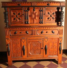 Rowlandson cupboard, c 1675 from Wethersfield, MA at Lancaster, MA library