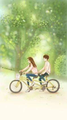 I'll give you a ride someday! Cute Couple Drawings, Cute Couple Art, Cute Drawings, Love Cartoon Couple, Anime Love Couple, Korean Art, Korean Drama, W Two Worlds Wallpaper, Anime Couples