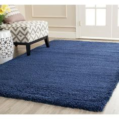 Zipcode Design Starr Hill Shag Navy Blue Area Rug Rug Size: Rectangle x Contemporary Style, Navy Blue Rug, Stylish Space, Contemporary Style Homes, Online Home Decor Stores, Safavieh, Rugs, Blue Area Rugs, Colorful Rugs
