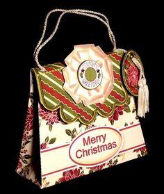 Handbag Gift Box Red Poinsettias Pattern