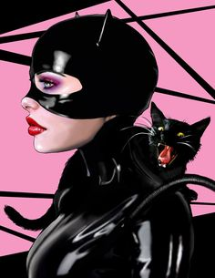 Feline Friend, Catwoman Illustration Art Print 8.5x11.