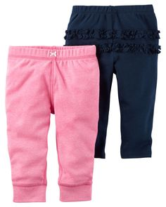 Carter's offers cute and comfortable clothing with soft, durable fabrics! Pack includes two pairs of solid and heathered pull-on pants featuring ruffle backs, bow appliques, and elastic waistbands. Part of the Baby Pink collection. Toddler Fashion, Toddler Outfits, Baby Boy Outfits, Kids Outfits, Girl Fashion, Carters Baby Clothes, Carters Baby Girl, Baby Girls, Infant Girls
