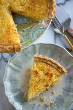 Tropical Pie from www.tablefortwoblog.com - sweet, yummy goodness make with pineapple & coconut! This would be a perfect dessert for a luau party and I'm sure you could make this into small, bite size treats by using the right pastry pan.
