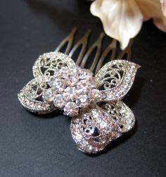 Tegan - Wedding Hair Comb, Bridal Accessories, White, Rhinestones, Crystal, Swarovski, Czech crystal, Head Piece, Bow