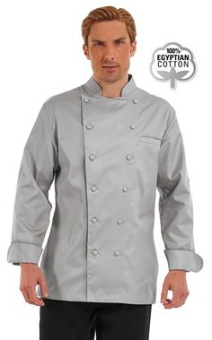 Men's Long Sleeve Traditional Chef Coat - Fabric Covered Buttons- 100% Egyptian Cotton Style #  631815  #chefuniforms #menschefwear #chef #coat #chefcoat