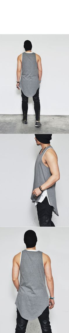 Tops :: Unbalance Cut Extra Long Side Zip Tank-Tank 43 - Mens Fashion Clothing For An Attractive Guy Look