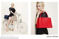 Summer vibe: The actress, 33, is seen posing astride a vintage-style bicycle in the campaign, which was styled by former French Vogue editor Carine Roitfeld