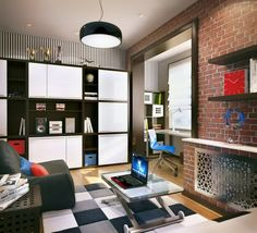 lack White Teenage Kids Room Scheme With Red Brick Wallpapers Also Grey Puffy Sofa Chair And Aluminum Coffee Table For Awesome Design Ideas