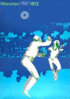 AICHER, Otl. München Olympische 1972. [Munich Olympics fencing].  Original lithograph in colours, printed by Klein & Volbert, Munchen, 1972. #print