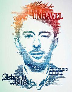 Thom Yorke portrait found on 15 Creative Typography Artworks on weburbanist.com