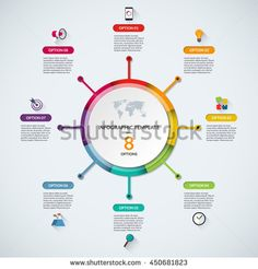 Infographic circle diagram template. Business concept with 8 steps, parts, options. Banner with the set of flat icons and design elements. Can be used for cycle diagram, round chart, graph, report