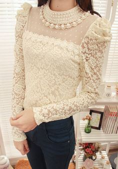 Faux Pearl Puff Sleeves Solid Color Lace Refreshing Style Women's BlouseBlouses | RoseGal.com