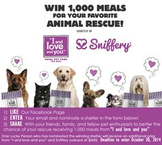 """Please nominate Rikki's Refuge for a chance to win 1000 meals from """"LandLoveandYou""""! You must like the SNIFFERY page, enter your email and enter your rescue (Rikki's Refuge, Rapidan, VA.) ONE VOTE PER EMAIL ADDRESS ONLY!  http://woobox.com/bbrxoe/a8048c"""