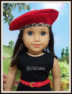 Red Beret with animal print clothing for American Girl Dolls by GiGisDollCreations