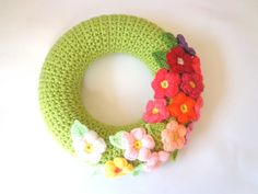 Crochet spring door wreath colorful daisy flowers by SpringFresh
