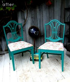 Before and after makeovers on chairs.  Love this idea of bright coloured wood for a kitchen/dining chair.