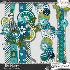 Be Merry - Border Clusters by Connie Prince. Designed to coordinate with the Be Merry collection. Includes 4 border clusters, saved in PNG format. Shadows ARE included. Scrap for hire / others ok.