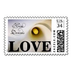Personalized Names Calla Lily Love Postage Stamps - Perfect for weddings and bridal showers. calla lily calla lilies lilly arum zantedeschia aethiopica