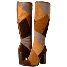 Frye Claude Patchwork Tall (Brown Multi Suede/Smooth Vintage Pull Up)... ($528) ❤ liked on Polyvore featuring shoes, boots, suede thigh-high boots, brown knee high boots, brown suede knee high boots, frye boots and tall knee high boots