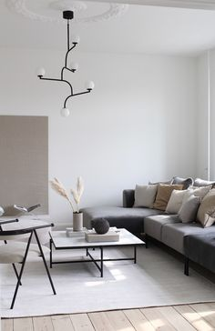 Calm living room in grey and white, with touches of beige and camel