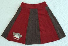 Recycled wool sock monkey skirt. Currently for sale!