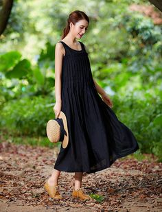 Black Maxi Dress Black Linen Dress Black Dress by camelliatune