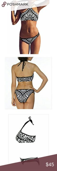 Womens Halter Tankini 2 Piece High Neck Bikini NWT Brand new...still in package.  Material: 80% Nylon + Spandex 20% It will be better to choose a larger size than what you normally wear....this swimsuit does run small. Garment Care: Hand-wash and Machine washable, Dry Clean Swim Bikinis