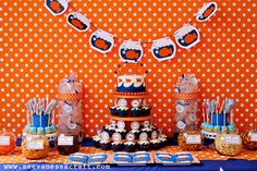 Logan's 2nd Goldfish Birthday Party - Orange, Blue, Polka Dots
