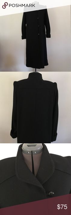"""Vintage Black Wool Dress Coat Vintage wool coat in perfect condition. This may not have ever even been used. 80% Wool, 20% nylon. 44"""" long. Beau Brem Jackets & Coats"""