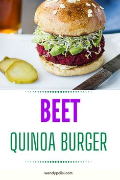 This Beet Burger has a delicate texture and earthy flavors that you will find yourself craving.  With chickpeas and quinoa, this is a veggie burger that really satisfies.  They can be made ahead, making them perfect for your busy work week. Healthy Gluten Free Recipes, Healthy Recipes For Weight Loss, Healthy Dinner Recipes, Vegetarian Recipes, Beet Burger, Quinoa Burgers, Sweet Potato Burgers, Veggie Side Dishes, Work Week