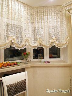 """Купить Комплект для кухни """"Кружевной Прованс"""" во французком стиле - кухонный интерьер, шторы для кухни"""