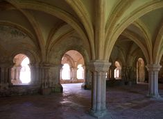 Abbaye de Fontenay-Salle capitulaire. Marmagne (Côte-d'Or)Bourgogne. Cistercian Abbey of Fontenay.This stark Burgundian monastery was founded by St Bernard in 1119.With its church, cloister,refectory,sleeping quarters, bakery and ironworks,it is an excellent illustration of the ideal of self-sufficiency as practised by the earliest communities of Cistercian monks.