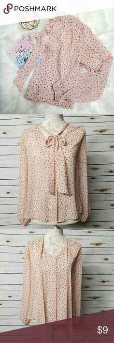 F21 Creamy Pink Sheer Blouse Small Cute and girly Forever 21 Sheer style Blouse size small! :)    Bundle 2+ or more in my closet and get extra discount!💕☺💖 Forever 21 Tops Button Down Shirts