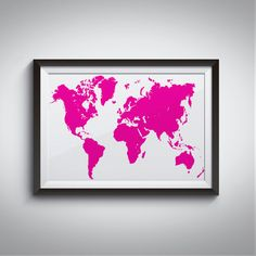 PINK MAP  After purchasing you will receive an INSTANT DOWNLOAD of your artwork…
