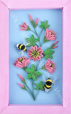 Bumblebees and flowers. Quilling by Inna's Creations, via Flickr