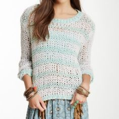 Free People Knit Sweater Cute light grey/mint Cotton/Silk blend chunky knit sweater by free people. New, never worn.  73% cotton, 21% silk, 6% acrylic  Dry clean No trades, no PP. Free People Sweaters