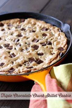 Frugal Food Items - How To Prepare Dinner And Luxuriate In Delightful Meals Without Having Shelling Out A Fortune This Triple Chocolate Chunk Skillet Cookie Recipe Has You Mixing And Baking All In One Pan Best Dessert Recipes, Easy Desserts, Cookie Recipes, Kid Recipes, Sweet Desserts, Baking Recipes, Snack Recipes, Chocolate Chip Blondies, Chocolate Cookies