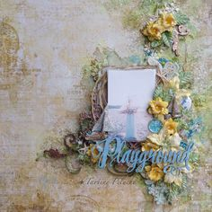 Blue Fern Studios: August projects by Tartine Peluche Scrapbook Page Layouts, Scrapbook Pages, Scrapbooking Ideas, Wedding Scrapbook, Layout Inspiration, Playground, Stencils, Floral Wreath, Canvas Art