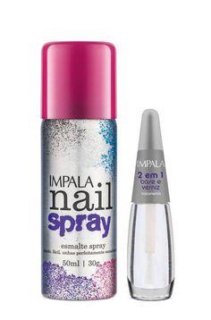 Esmalte Spray Impala Rosa Pink + Tratamento 2 em 1 Base Verniz