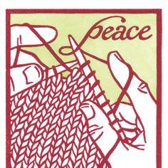 KNITTING PEACE holiday or Christmas postcard. $1.50, via Etsy.