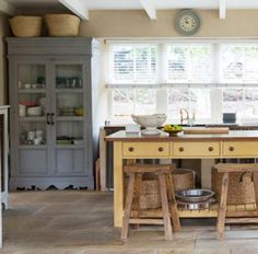 Work in furniture to the kitchen to boost your storage capacity. Rather than choosing a built-in pantry cabinet, hit an antiques store for a freestanding unit. You might find a buffet or hutch for $1,000 to $2,500 less than what a cabinetmaker would charge.