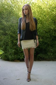 Black & white: Lace mini skirt by Zara, simple black T by COS, Hallhuber leather jacket & strappy open-toe heels.
