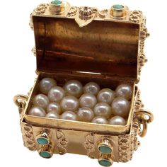 Unique Retro 18k Yellow Gold Cultured Pearl Turquoise Treasure Chest 3D Charm