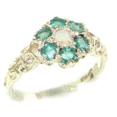 925 Sterling Silver Natural Opal and Emerald Womens Cluster Ring  Sizes 4 to 12 Available * Read more at the image link.