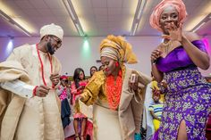 Traditional attire, bride and groom after changing on their wedding day.....very colourful.  #asoebi #weddings #dazzitto