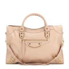 Balenciaga Classic Metallic Edge City Leather Tote (15.035 VEF) ❤ liked on Polyvore featuring bags, handbags, tote bags, beige, pink tote, leather handbags, leather purse, metallic leather handbags and pink purse
